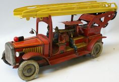 Vintage Gunthermann Tin Wind-up Fire Engine Extending Ladder Truck with Pumper