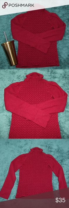 Emporio Armani knit red long sleeve sweater Bundle 2+ and get %15 discount!  95% Tessuto red knit stretchy sweater by Emporio Armani in very good condition! labaled size 44 (Italy) ~ 10(US) Emporio Armani Sweaters