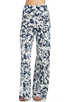 Cody Line Women's Casual Bohemian Damask Palazzo Pants (Medium, Navy Floral) Church Dresses, Palazzo Pants, Wide Leg Pants, Homecoming Dresses, Fashion Brands, Ball Gowns, Women's Casual, Pajama Pants, Damask