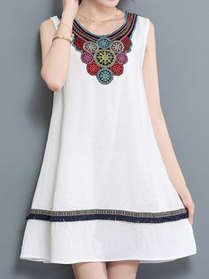 Sale 16% (27.99$) - Casual Women Embroidery Dress Sleeveless A Line Cotton Linen Dresses
