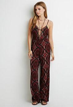 Beaded Ornate Print Jumpsuit | Forever 21 - 2000077434