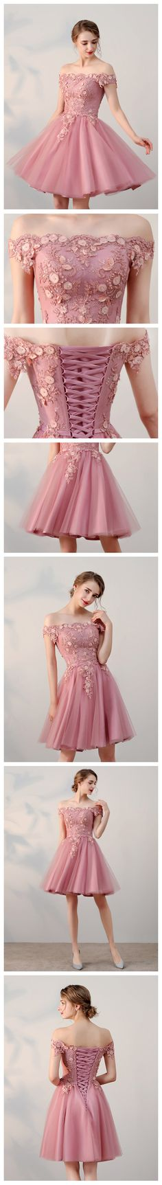 Chic Homecoming Dresses A-line Off-the-shoulder Halter Pink Applique Lace Tulle Homecoming Dress Short Prom Dress SM038