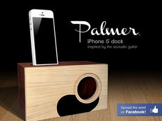 Palmer :: Acoustic iPhone 5 Dock by Nathan Mummert, via Kickstarter.  Hand crafted and inspired by the acoustic guitar. Naturally amplify the sound of your iPhone 5, 4, 4s, and 3