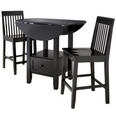 More space saving and can big a larger table when in use.  :)  I like this one best!  Threshold 3-Piece Storage Pub Set