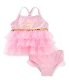 Juicy Couture Pink & Gold Tankini Top & Bottoms - Infant, Toddler & Girls | zulily