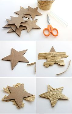 """""""Lines Across"""": Textured Star Ornaments"""