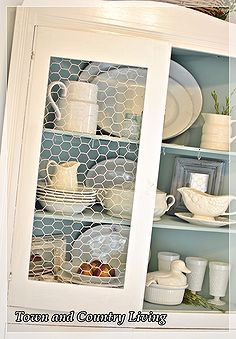 replacing glass in a cabinet with chicken wire, cabinets, design d cor, It was easy to take out the glass and add the chicken wire which we had on hand