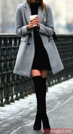 Chic winter women outfits ideas for work Girls Night Out Outfits, Nye Outfits, Paris Outfits, Winter Fashion Outfits, Casual Summer Outfits, Fall Winter Outfits, Look Fashion, Edgy Outfits, Outfits With Boots