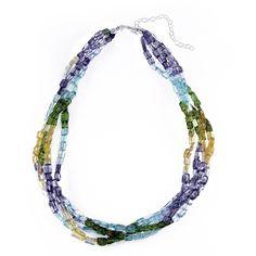 Glitzy Rocks Semi-precious Torsade Rainbow Necklace ($29) ❤ liked on Polyvore featuring jewelry, necklaces, multi, rainbow necklace, strand necklace, tri color necklace, colorful necklaces and colorful bead necklace