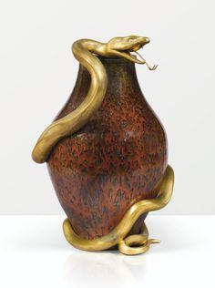 Pierre-Adrien Dalpayrat & Maison Keller 1844 - 1910 VASE SERPENT, 1900 'SERPENT', a red, green and blue glazed stoneware vase with gilt bronze snake mount by PIERRE-ADRIEN DALPAYRAT and MAISON KELLER, 1900.