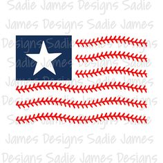 Baseball laces flag SVG EPS and Silhouette by SadieJamesDesigns