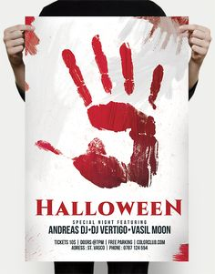 A great free halloween psd flyer template with a bloody theme and a bloody hand print on a light background which is suitable for any halloween flyer
