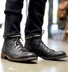 Newest black distressed leather man's combat boot by BEDSTU. Hand colored and hand crafted. Perfect for work days and for weekend activity.