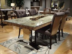 Magnolia Collection :: Branch Dining Table, shown with Luxe Dining Chair (Cocoa Belgian Linen, Burlap Back, Espresso) #OEF #dining #furniture @orientexpressfurn