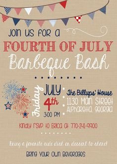 4th of July BBQ Invitation  Fourth of July  by sweetleighmama, $7.00