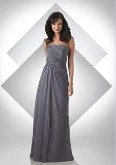Discount Chiffon Strapless A-Line Long Bridesmaid Dress Free Measurement