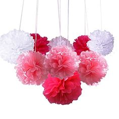 24pcs Tissue Paper Pom Poms Flower Balls Wedding Party Decoration Baby Girl Room Nursery Decoration,8Inch,10Inch,12Inch(White, Hot Pink & Light Pink): Amazon.co.uk: Kitchen & Home
