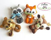Woodland Animals set of Four PDF sewing pattern-Deer, Fox, Raccoon, Squirrel-Woodland Animals ornaments-Nursery decor-Baby's mobile toy