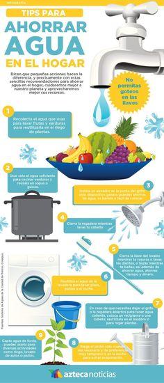 Tips para ahorrar agua en el hogar #infografia