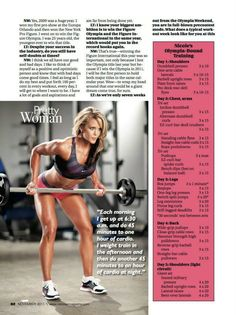 3X Ms. Olympia Champion: IFBB Pro Nicole Wilkins. A sample of her weekly training schedule.