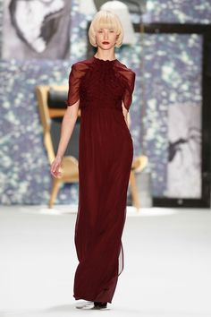 Kilian Kerner - Berlin Fashion Week - Beautiful floor length burgandy dress - sheer sleeves and a woven bodice