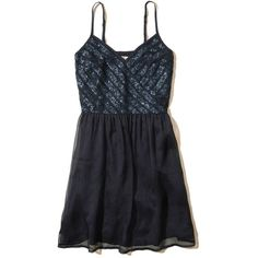 Hollister Shine Chiffon Skater Dress ($60) ❤ liked on Polyvore featuring dresses, navy, navy sequin dresses, navy dress, navy chiffon dress, v-neck camisoles and navy camisole