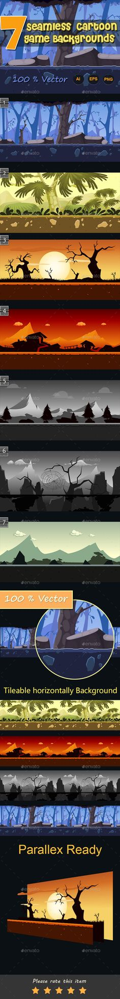 7 Seamless Cartoon Game Backgrounds Download here: https://graphicriver.net/item/7-seamless-cartoon-game-backgrounds/11530623?ref=KlitVogli