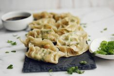 Shrimp and brussels dumplings