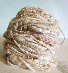 Hand spun yarn Coil Bulky Tattered White  texture Art Yarn Wedding 52yrds