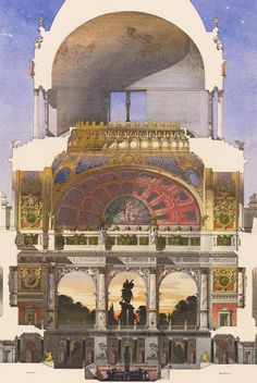 Design for an art academy in Berlin. Bernhard Sehring, 1883. German Late Romanticism is so overwhelming.