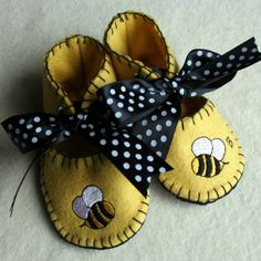 Baby shoes in wool felt bumblebees yellow and black by countymouse, $24.00