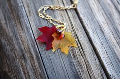 Autumn Fall Necklace Maple Leaf Leaves Fall Jewelry by DRaeDesigns, $18.00