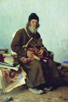 Ivan Ivanovich Tvorozhnikov - Seller small icons, (1887). Oil on canvas, 82 x 122 cm. Pskov State United Historical, Architectural and Fine Arts Museum-Reserve, Russia.