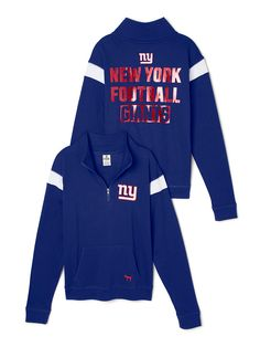 New York Giants Bling Boyfriend Half-Zip $69.95 from Victoria's Secret PINK - NFL collection. -------- football. NY. big blue. pullover sweater. team. fashion. apparel. clothing. warm. comfortable. fall and winter. sports.