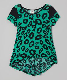 Love this Black & Green Leopard Top by Erge on #zulily! #zulilyfinds