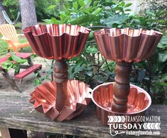 Tiered Tin Pedestals ohmhygluestick.com #upcycled #junk #baking #tins #copper #decor #trashure #rustic #shabby #chic #repurpose #reclaimed
