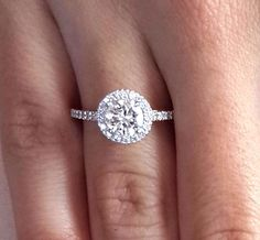 2.73 CT ROUND CUT D/VS2 DIAMOND SOLITAIRE HALO ENGAGEMENT RING 14K WHITE GOLD #LUXUR #SolitairewithAccents