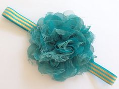 """Teal Dark Aqua with Metallic Gold Stripes with 3.75"""" Satin and Lace Flower Elastic Headband on Etsy, $7.25"""