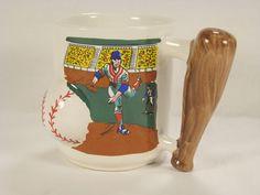 Baseball Mug Coffee Figural Dimensional 12 oz Bat Handle Cup Sports