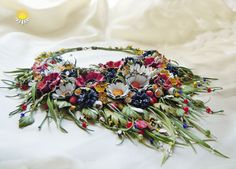 flower leather necklace blue cornflower by SummerInYourHome