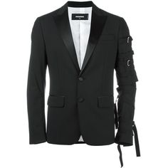 Dsquared2 'London Tux' strap detail jacket ($2,360) ❤ liked on Polyvore featuring men's fashion, men's clothing, men's outerwear, men's jackets, black, mens tuxedo jacket and mens punk jacket