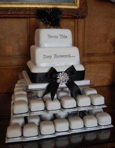 Black and Silver Wedding Cake -- favorite! i love the mini cakes :)