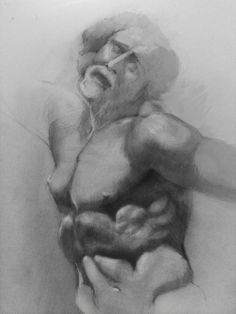 Drawing by Don Smith using Classical Casts from our gallery in the George Walter Vincent Smith Art Museum during his Anatomy class.