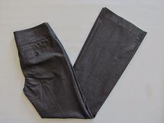 """Express Editor Pants 2 Dark Blue Gray Sheen Wide Waist stretch Cotton Flare 32"""" #Express #DressPants"""