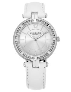 53ed6bac01113 Shop for Stuhrling Original Women's Quartz Serena Swarovski Element Crystal  White Leather Strap Watch.