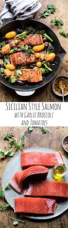 Sicilian Style Salmon with Garlic Broccoli and Tomatoes | halfbakedharvest.com @hbharvest