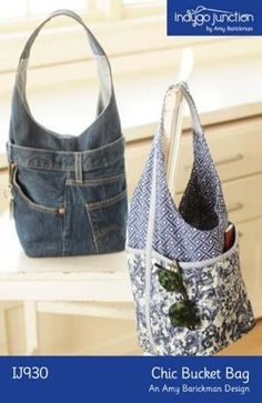 "Chic Bucket Bag sewing pattern from Indygo Junction - Show off your favorite cottons to create this stylish bucket bag with quilted exterior pockets. Recycle jeans to create another unique variation. Use the front and back jean pockets as functional pockets and utilize the jean hem for the top of a second exterior pocket. Both versions have convenient interior pockets. Size: 10 ½"" H x 8 ½"" W x 6"" D"