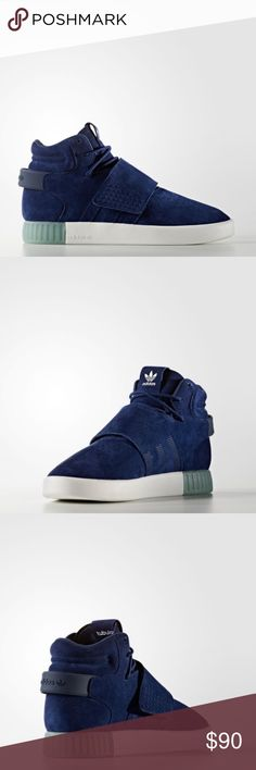 MEN'S ADIDAS ORIGINALS TUBULAR INVADER STRAP BLUE New with box   MEN'S ADIDAS ORIGINALS TUBULAR INVADER STRAP Sneakers in BLUE & CLEAR AQUA.  Limited sizes.   5 Star rated seller & Posh Mark Brand Ambassador. adidas Shoes Sneakers