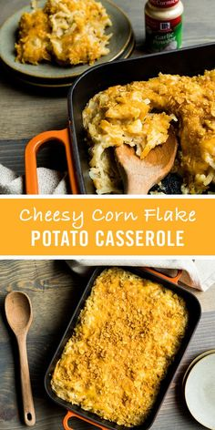 Cheddar cheese. Hash browns. McCormick Garlic Powder. All bubbly and warm under a crisp, buttery corn flake topping. Cheesy Potato Casserole – also known as Funeral Potatoes – makes a comforting and delicious side dish idea for any holiday occasion.
