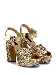 COUTURE - Sandalo alto - Donna - Sandalo alto in pelle laminata e glitter con cinturino alla caviglia e suola in cuoio. Tacco 125, platform 40 con battuta 85. - GOLD - € 198.00